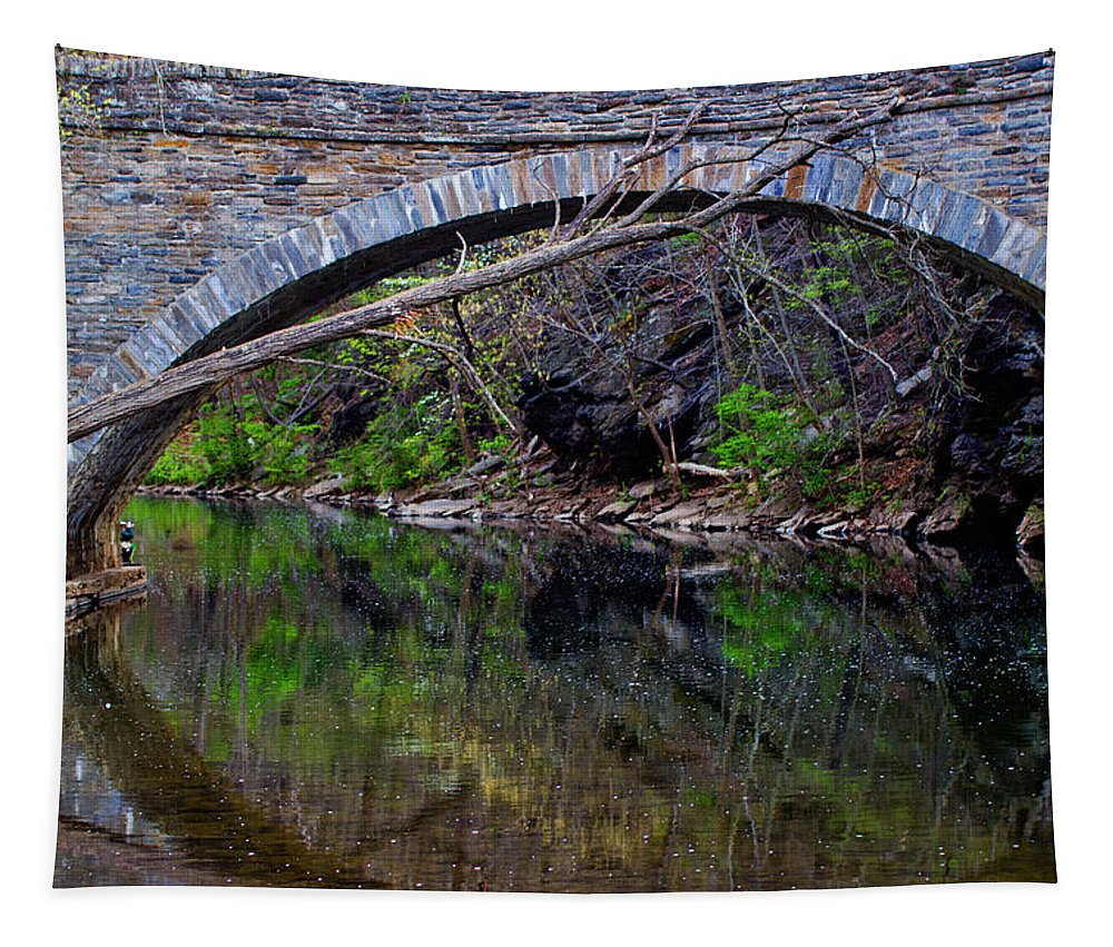 Bridge Tapestry featuring the photograph Reflecting While Fishing by Tom Gari Gallery-Three-Photography