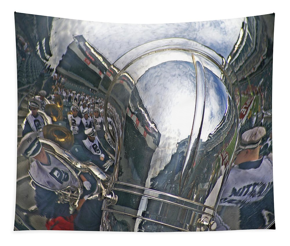 Sousaphone Tapestry featuring the photograph Reflection Of The Marching Band by Tom Gari Gallery-Three-Photography