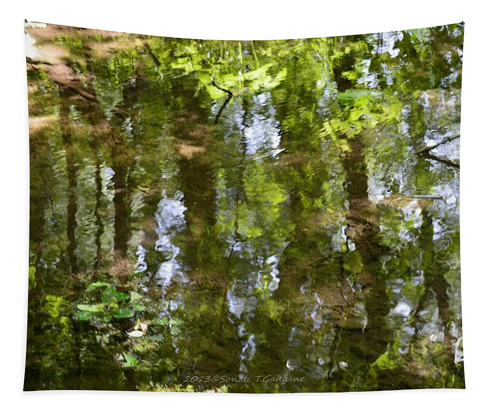 Nature Reflection Tapestry featuring the photograph Reflection Of Woods by Sonali Gangane
