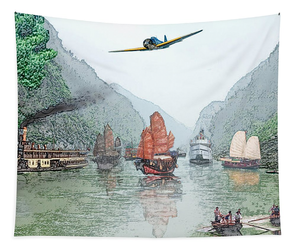 Boats Tapestry featuring the digital art Refugees On The Yangtze by Steve Karol