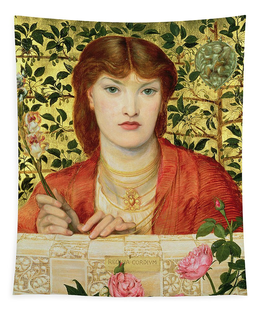Pre-raphaelite Tapestry featuring the painting Regina Cordium Alice Wilding, 1866 by Dante Gabriel Charles Rossetti