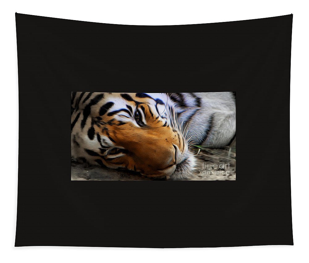 Tiger Tapestry featuring the photograph Relaxing by Ben Yassa