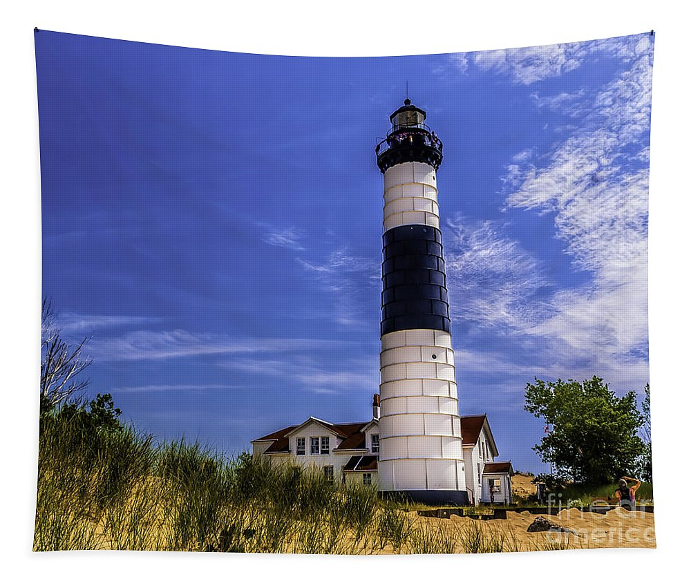 Beach Tapestry featuring the photograph Relaxing By Big Sable Light by Nick Zelinsky