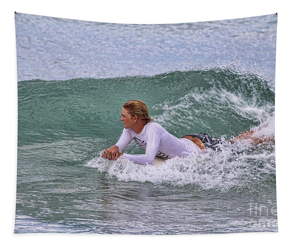 Surfer Tapestry featuring the photograph Relaxing In The Surf by Deborah Benoit