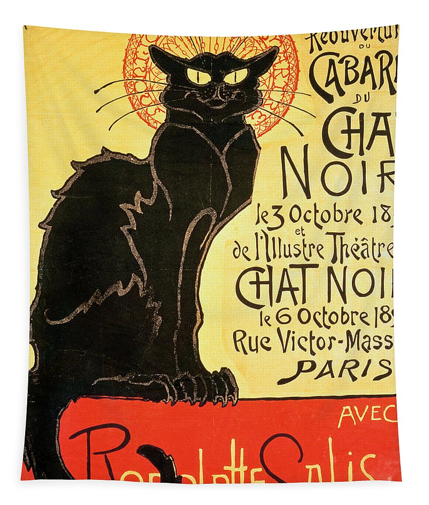 Paris Tapestry featuring the painting Reopening of the Chat Noir Cabaret by Theophile Alexandre Steinlen
