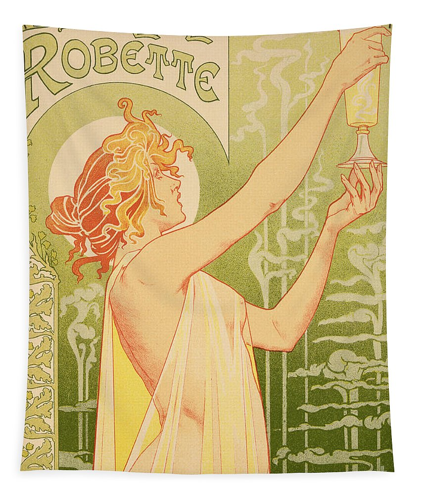 Advert; Advertisement; Alcohol; Liqueur; Alcoholic Drink; Beverage; Art Nouveau; Female; Holding Up A Glass Tapestry featuring the painting Reproduction Of A Poster Advertising 'robette Absinthe' by Livemont