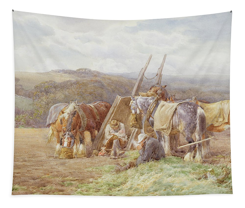 Field Tapestry featuring the painting Resting In The Field by Charles James Adams