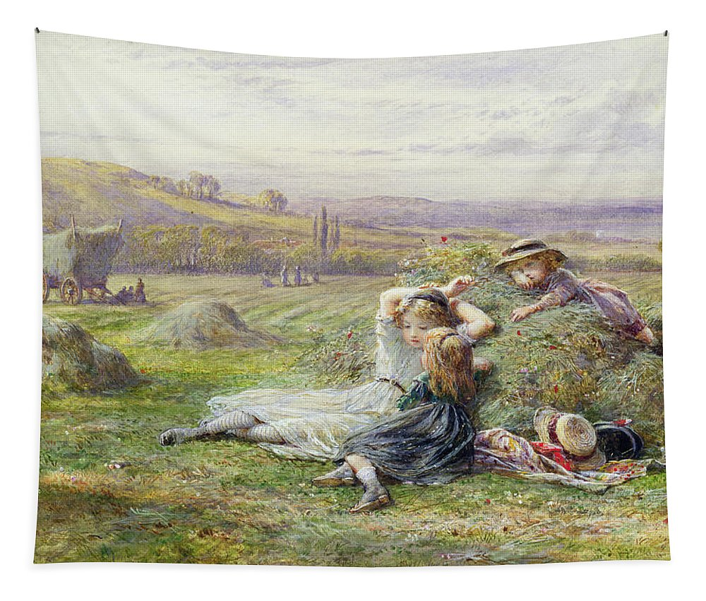 Watercolor Tapestry featuring the painting Resting by William Stephen Coleman