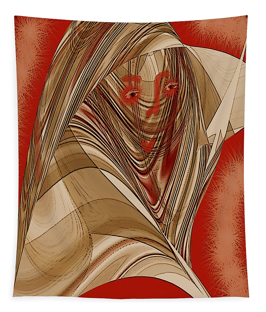 Abstract Portrait Tapestry featuring the digital art Resting Woman - Portrait In Red by Ben and Raisa Gertsberg