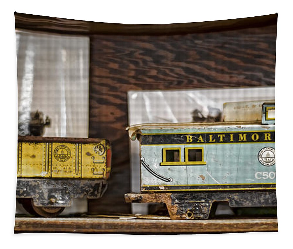 Train Tapestry featuring the photograph Retired Trains by Heather Applegate