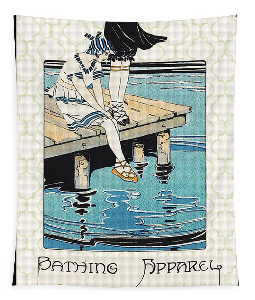 Jean Plout Tapestry featuring the digital art Retro Bathing Apparel Sign by Jean Plout
