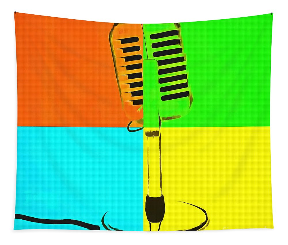 Pop Tapestry featuring the photograph Retro Microphone Pop Art 2 by Edward Fielding