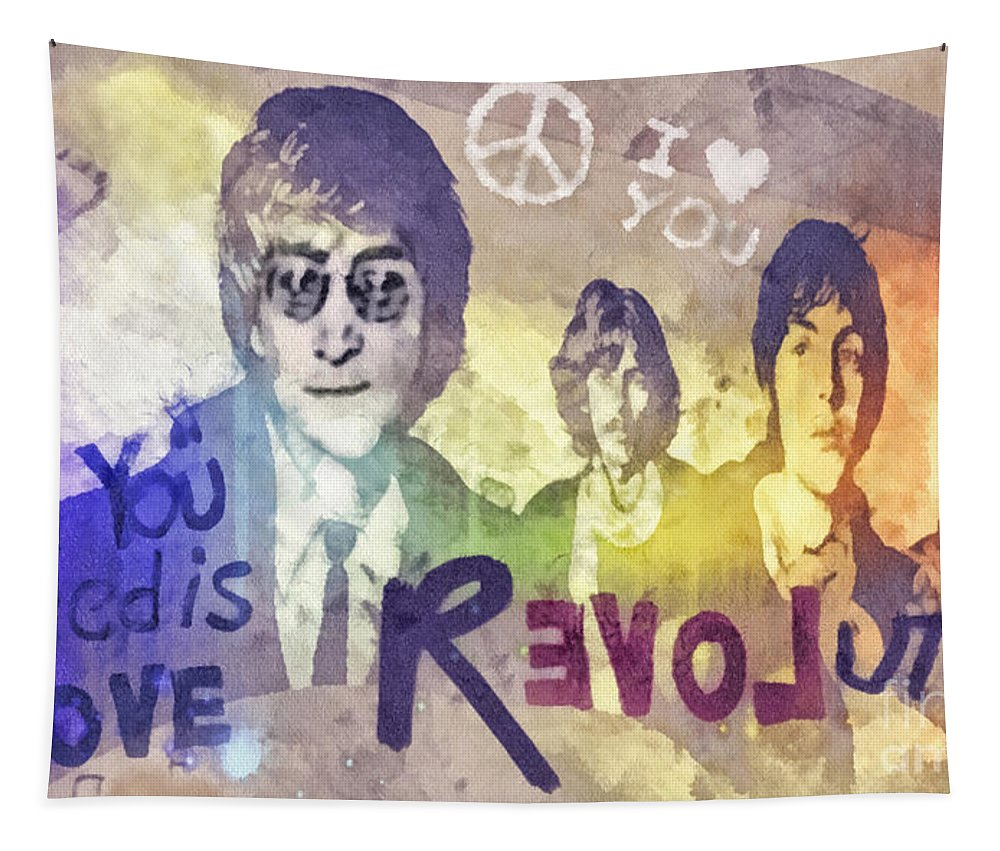 Revolution Tapestry featuring the mixed media Revolution by Mo T