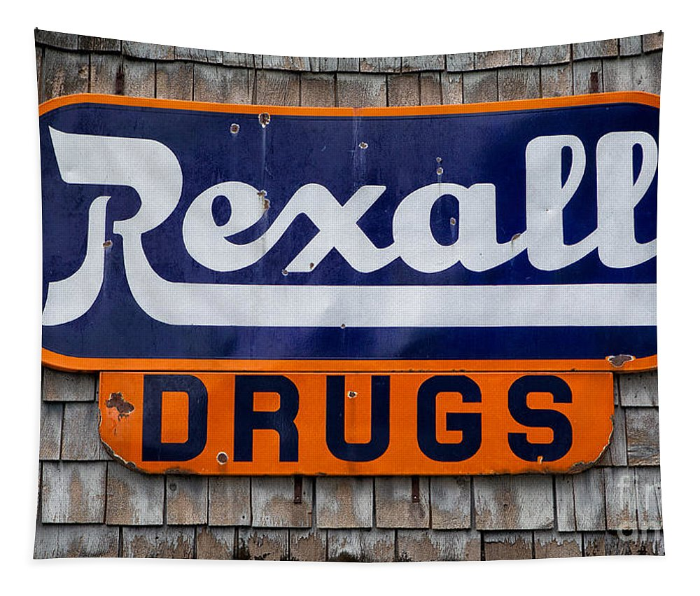 Sign Tapestry featuring the photograph Rexall Drugs by Jerry Fornarotto