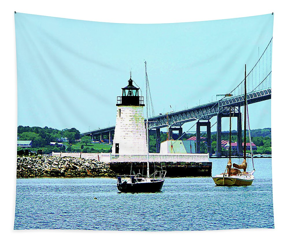 Boat Tapestry featuring the photograph Rhode Island - Lighthouse Bridge And Boats Newport Ri by Susan Savad