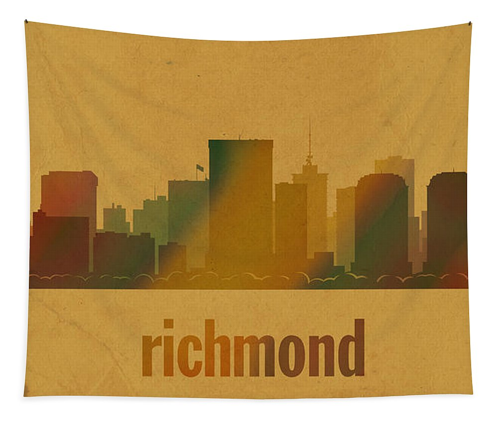 Richmond Tapestry featuring the mixed media Richmond Virginia City Skyline Watercolor On Parchment by Design Turnpike