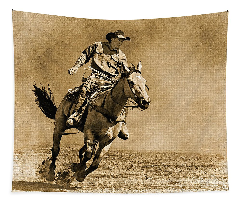 Horse Tapestry featuring the photograph Ridin' Hard by Priscilla Burgers
