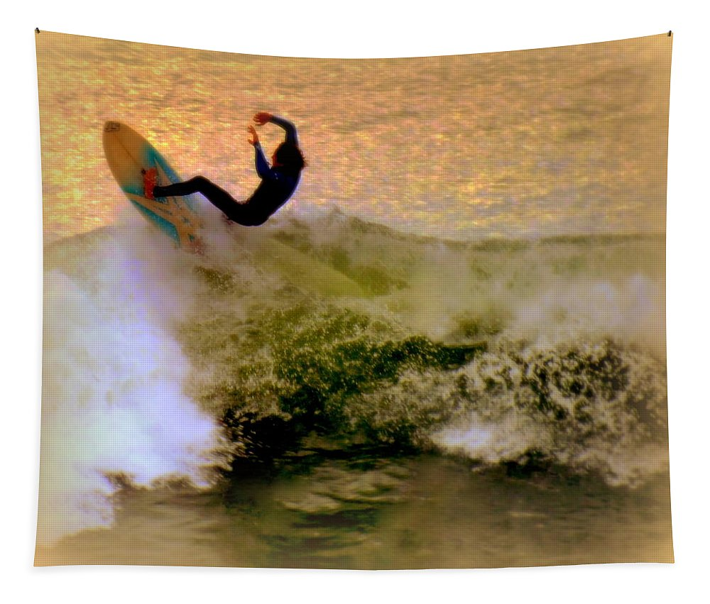 Surfing Tapestry featuring the photograph Riding High by Karen Wiles
