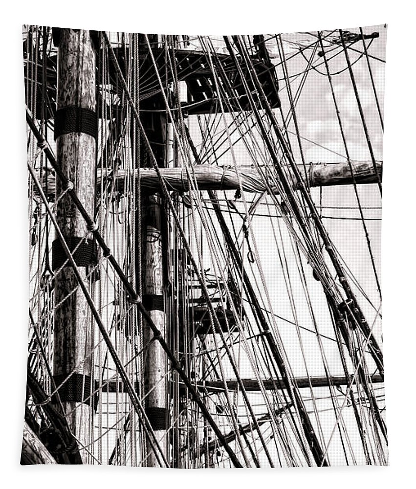 Sailing Tapestry featuring the photograph Rigging by Olivier Le Queinec