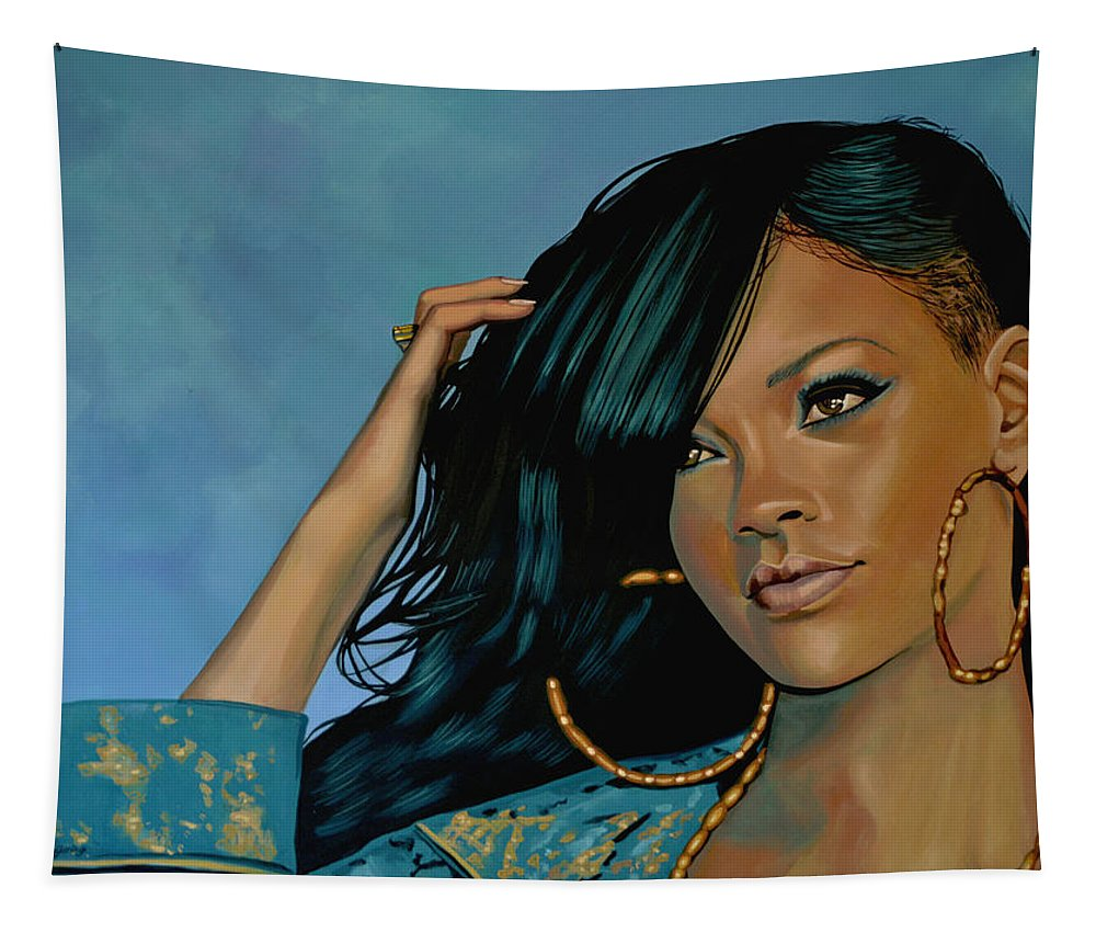 Rihanna Tapestry featuring the painting Rihanna Painting by Paul Meijering