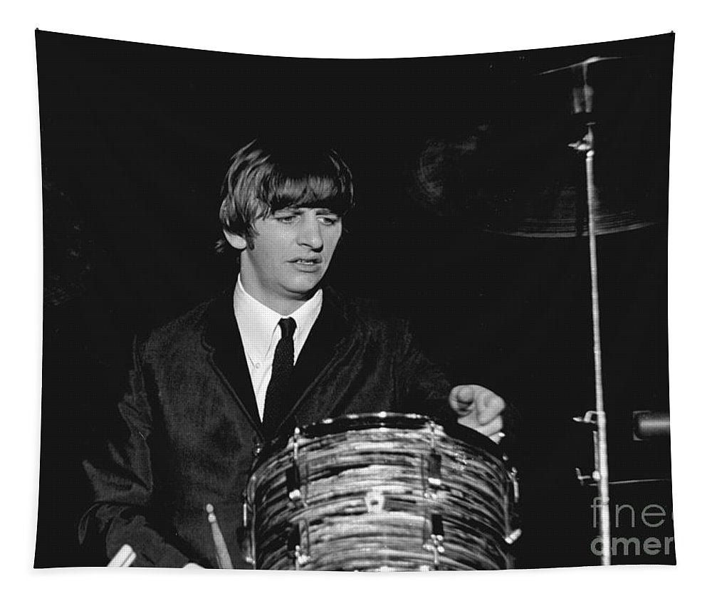 Beatles Tapestry featuring the photograph Ringo Starr, Beatles Concert, 1964 by Larry Mulvehill