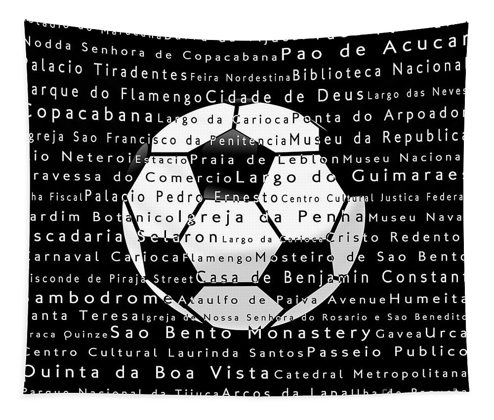 City Tapestry featuring the digital art Rio De Janeiro In Words Black Soccer by Sabine Jacobs