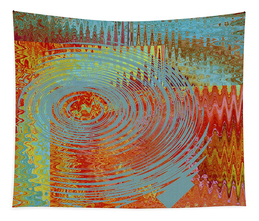 Multicolored Abstract Tapestry featuring the digital art Rippling Colors No 1 by Ben and Raisa Gertsberg