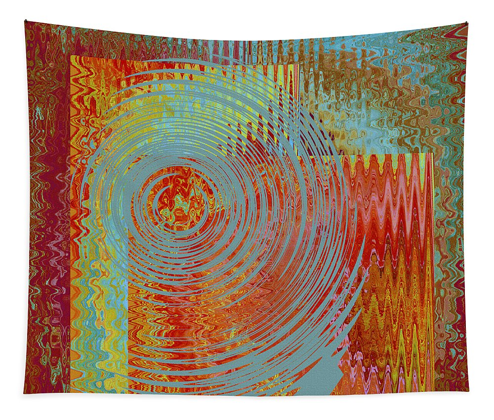 Multicolored Abstract Tapestry featuring the digital art Rippling Colors No 2 by Ben and Raisa Gertsberg