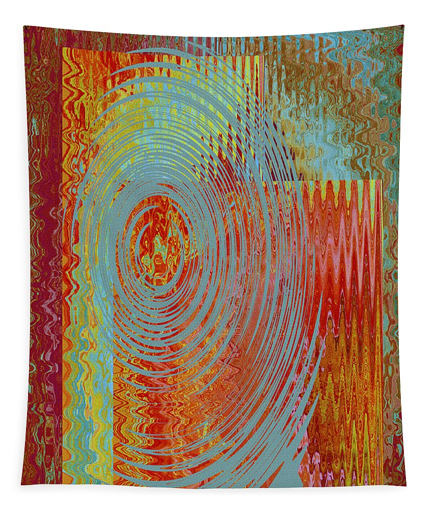 Multicolored Abstract Tapestry featuring the digital art Rippling Colors No 3 by Ben and Raisa Gertsberg