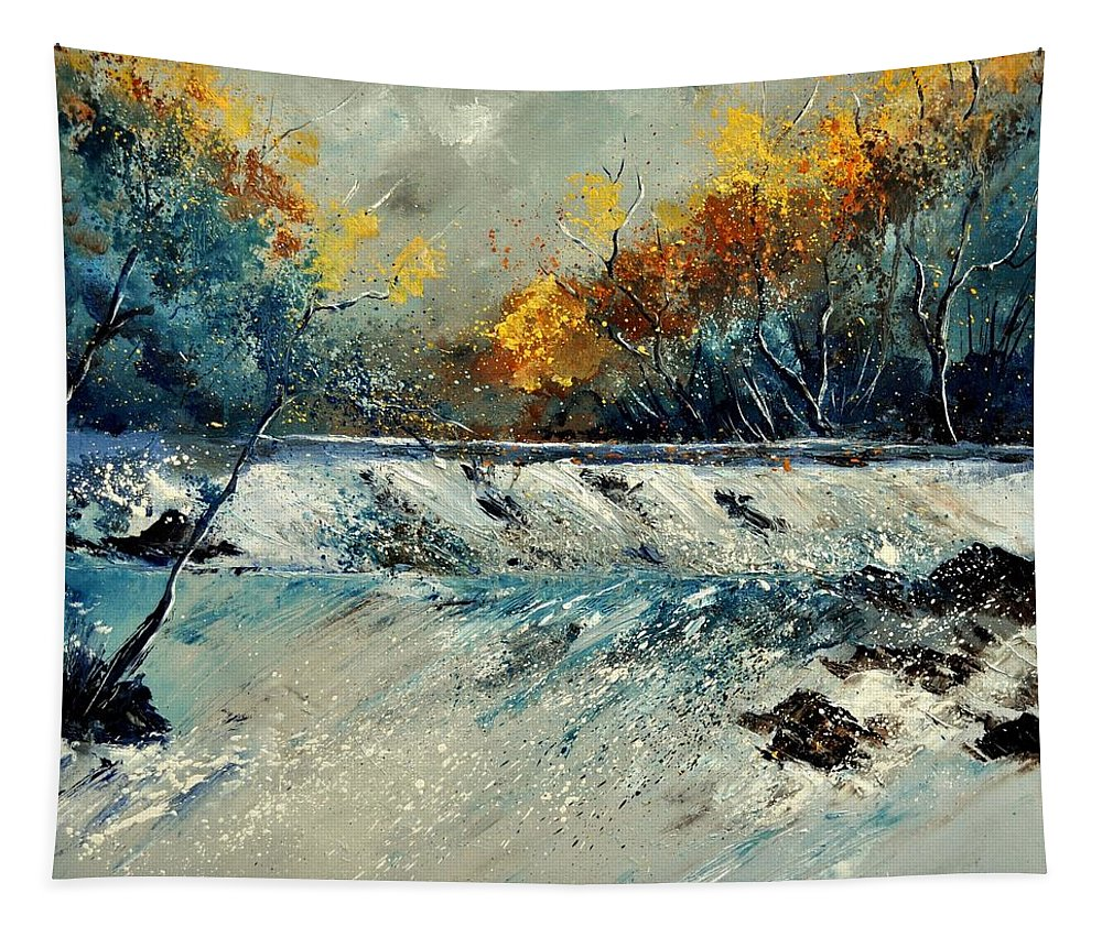 Landscape Tapestry featuring the painting River Fall by Pol Ledent