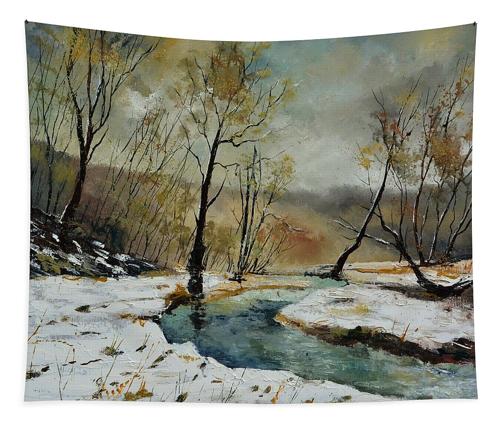 Landscape Tapestry featuring the painting River Hileau 8851 by Pol Ledent
