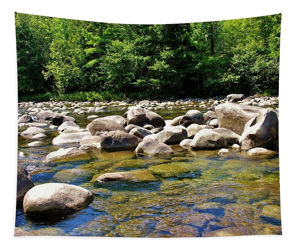 Waits River Tapestry featuring the photograph River Of Rocks by Sherman Perry