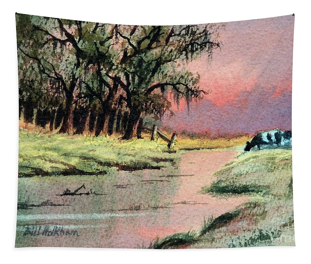 Cows Tapestry featuring the painting River Sunrise by Bill Holkham