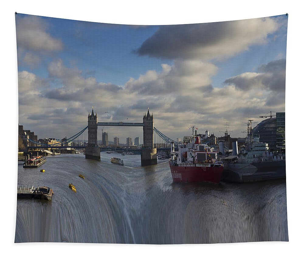 Waterfall Tapestry featuring the photograph River Thames Waterfall by David Pyatt
