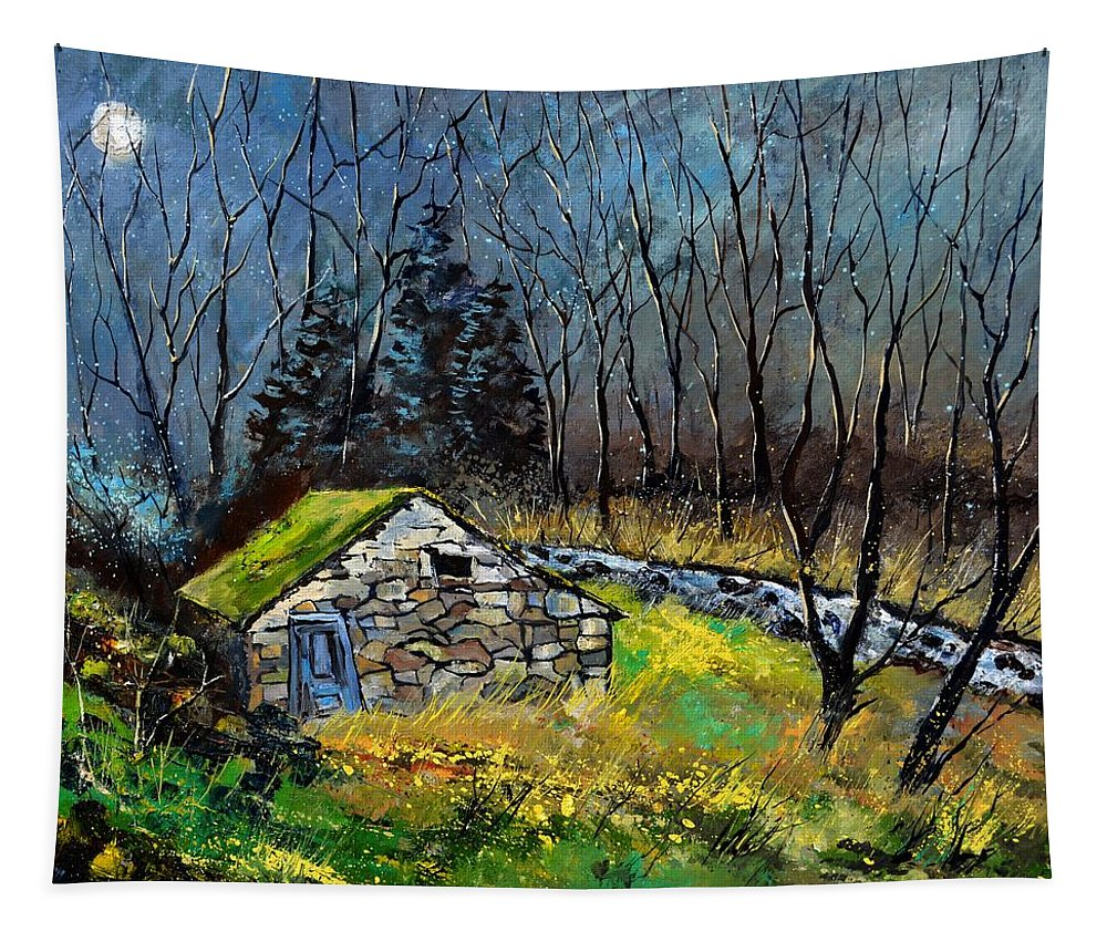 Landscape Tapestry featuring the painting River Ywoigne 7651 by Pol Ledent