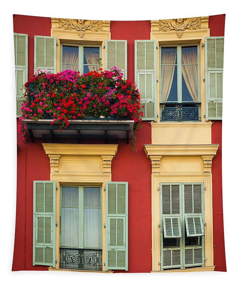 Cote D'azur Tapestry featuring the photograph Riviera Windows by Inge Johnsson
