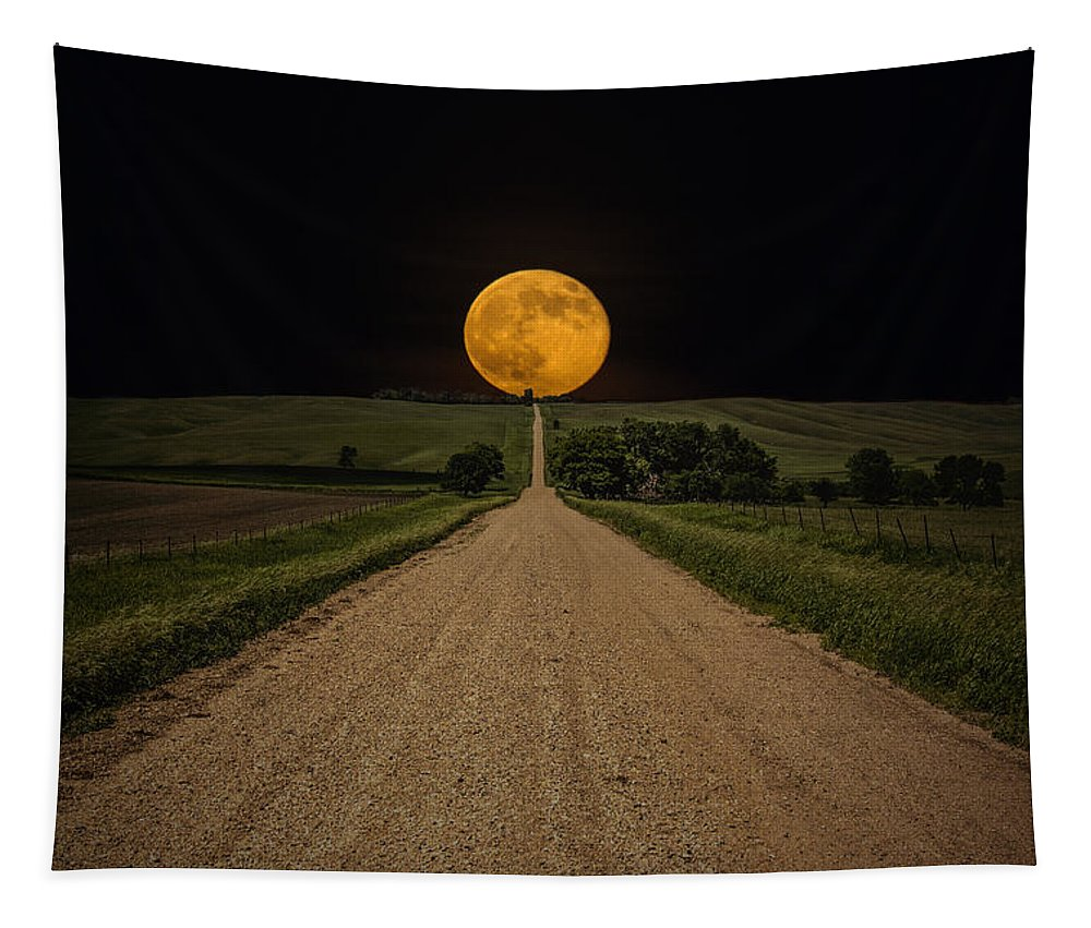Road To Nowhere Tapestry featuring the photograph Road To Nowhere - Supermoon by Aaron J Groen