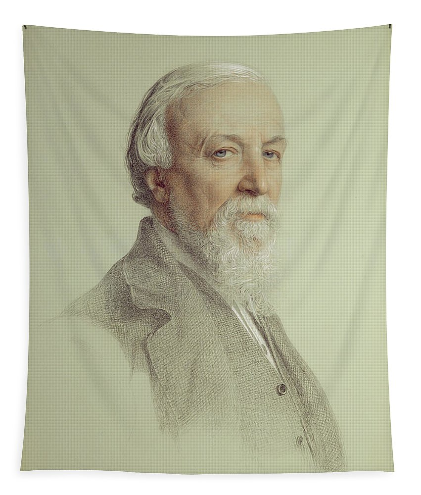 Portrait Tapestry featuring the drawing Robert Browning , 1881 by Anthony Frederick Augustus Sandys