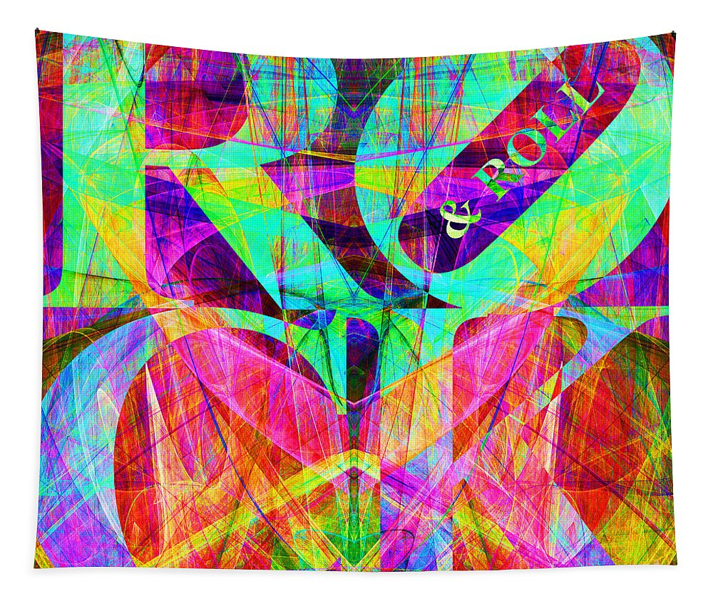 Abstract Tapestry featuring the digital art Rock And Roll 20130708 Fractal by Wingsdomain Art and Photography
