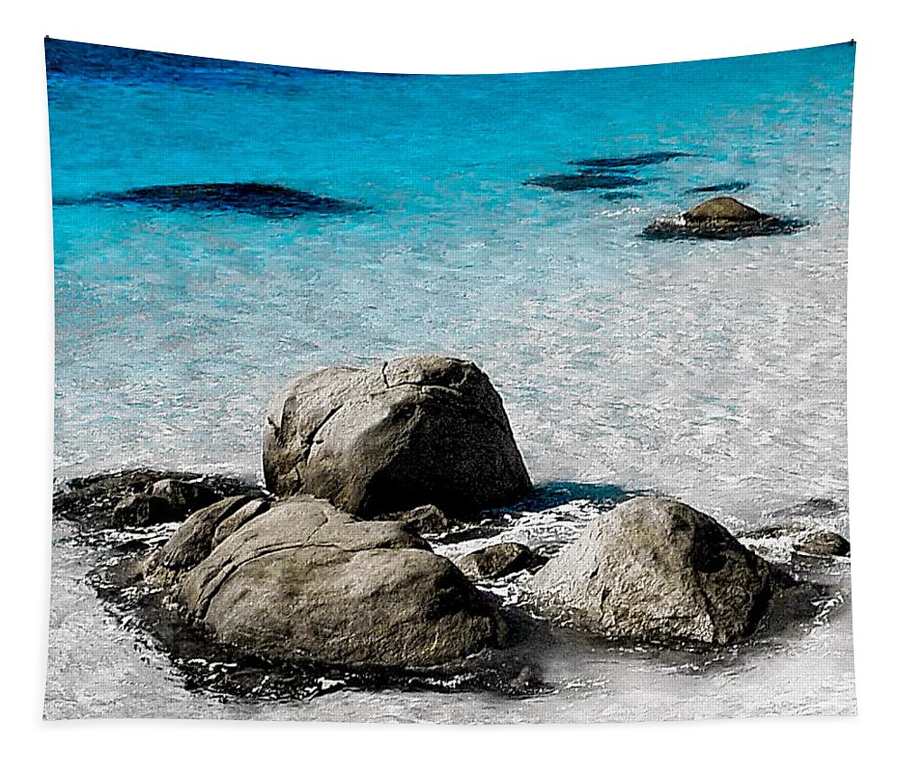 Digital Color Photo Tapestry featuring the digital art Rock Garden In Water by Tim Richards