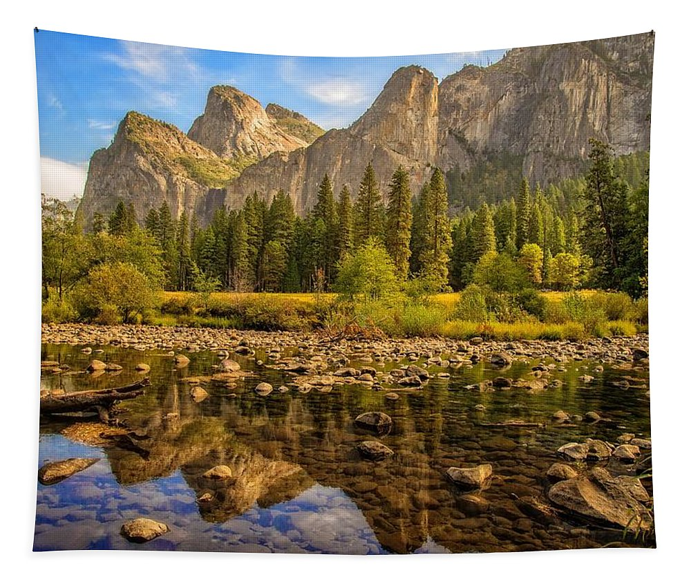Rocks Tapestry featuring the photograph Rock Reflections On The Merced by Lynn Bauer