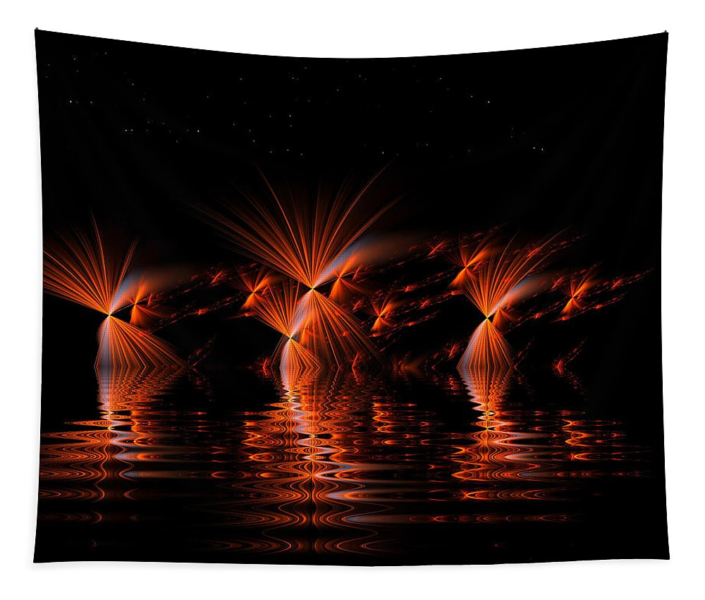Apophysis Tapestry featuring the digital art Rocket's Red Glare Bombs Bursting In Air by Richard Ortolano