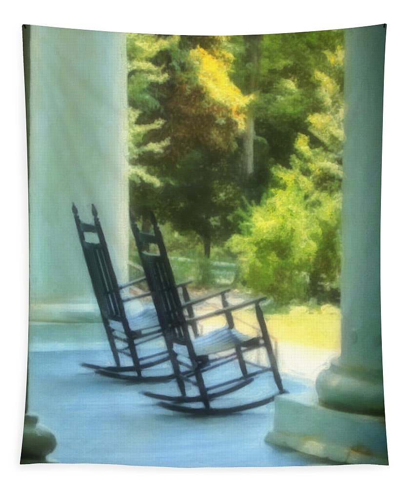 Rocking Tapestry featuring the photograph Rocking Chairs And Columns by Kathleen K Parker