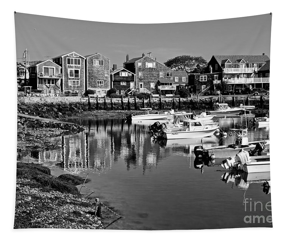 Anchor Tapestry featuring the photograph Rockport Harbor - Bw by Nikolyn McDonald