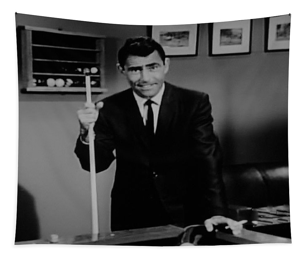 The Twilight Zone Tapestry featuring the photograph Rod Serling by Rob Hans