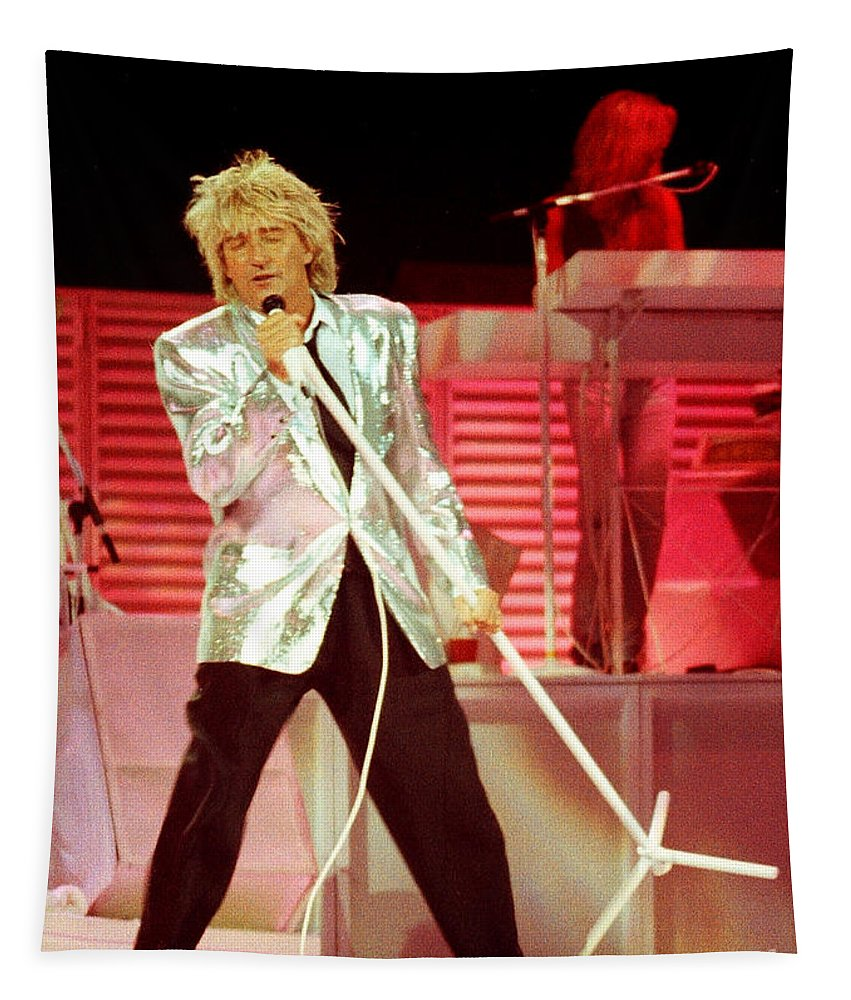 Rod Stewart Tapestry featuring the photograph Rod Stewart A8a - 1991 by Gary Gingrich Galleries