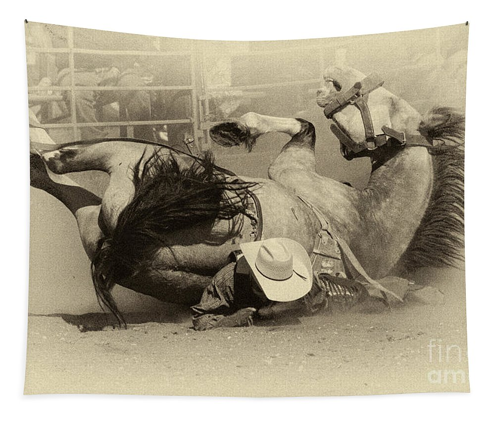 Bare Back Riding Tapestry featuring the photograph Rodeo Crunch Time 2 by Bob Christopher