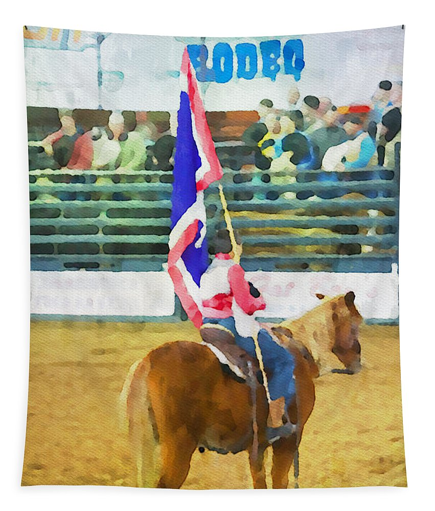 Rodeo Tapestry featuring the photograph Rodeo Flag by Alice Gipson