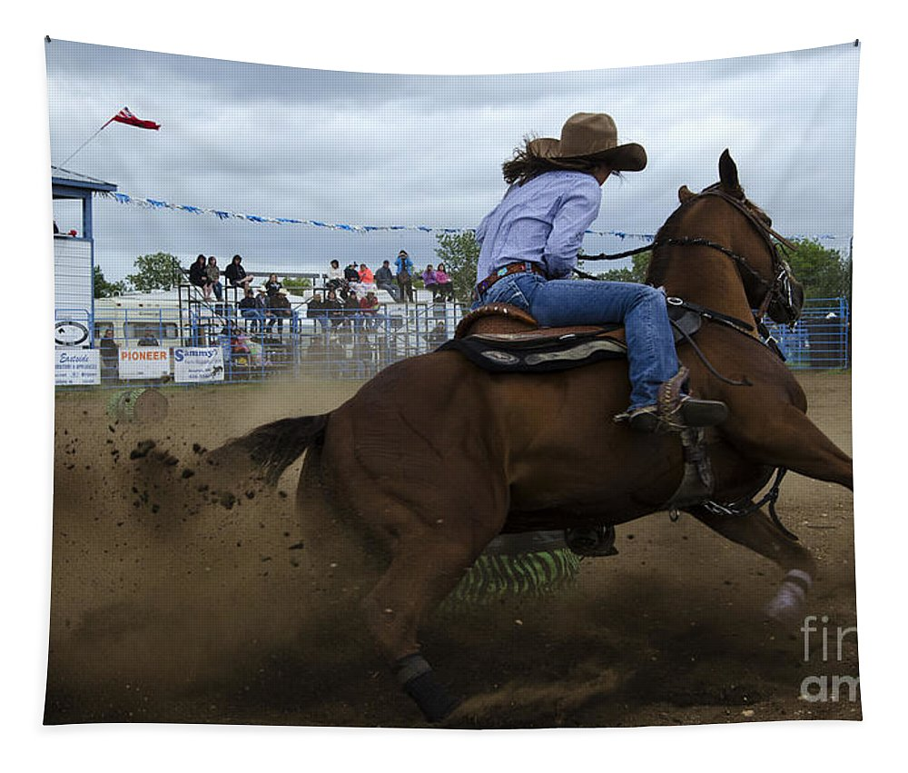 Barrel Tapestry featuring the photograph Rodeo Ladies Barrel Race 1 by Bob Christopher