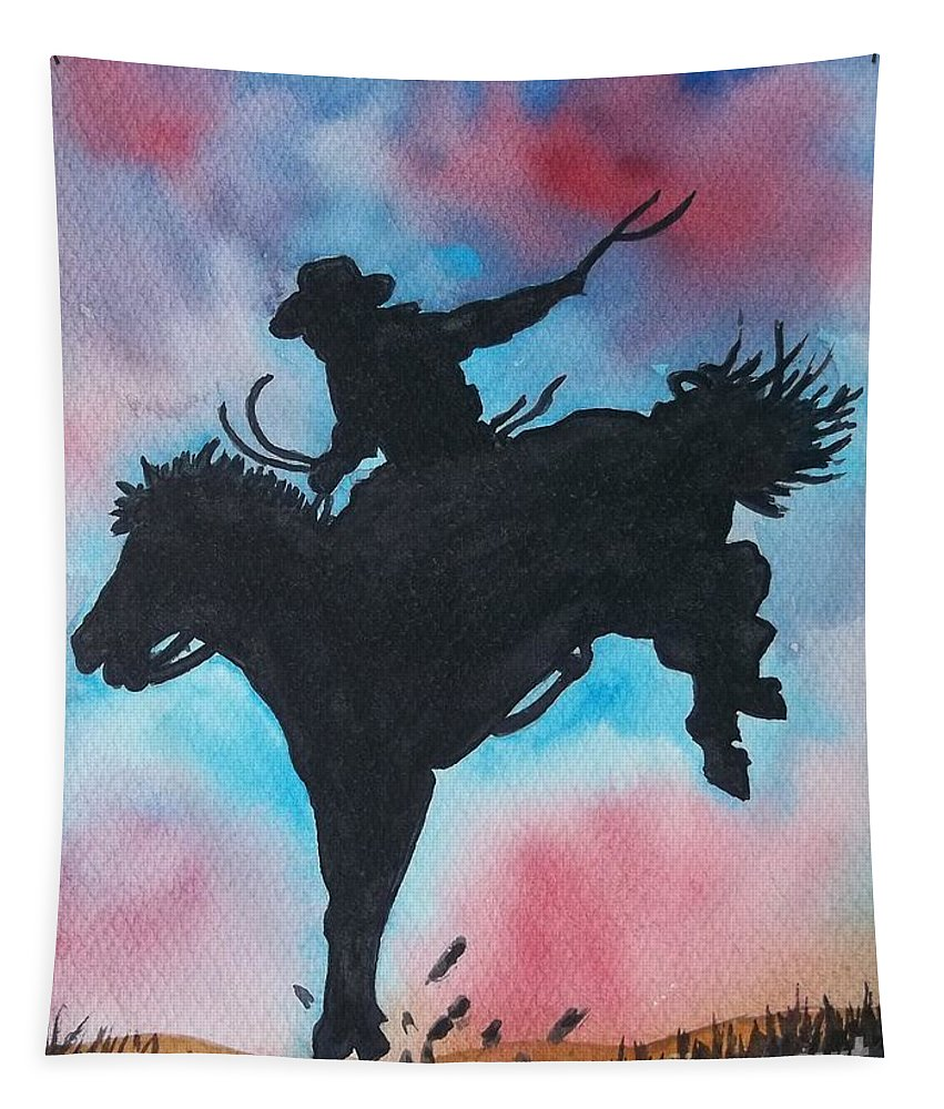 Cowboy Rodeo Tapestry featuring the painting Rodeo No 2 by Don Hand